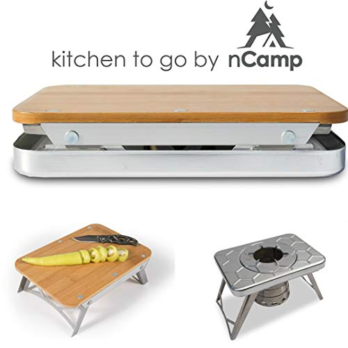 Compact Wood Burning Stove & Prep Surface Bundle/Day Camping/Tailgating / Kitchen to Go