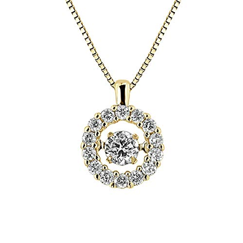 Dancing in Rhythm Circle Halo Diamond Necklace in 14k Yellow Gold (1/3cttw) 18-inch chain by Diamond Wish