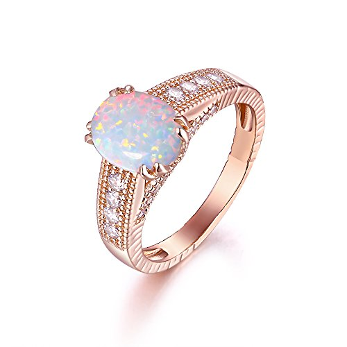 (Barel 18K Rose Gold or White Gold Plated Created Fire Opal Engagement Ring (Rose Gold, 10))