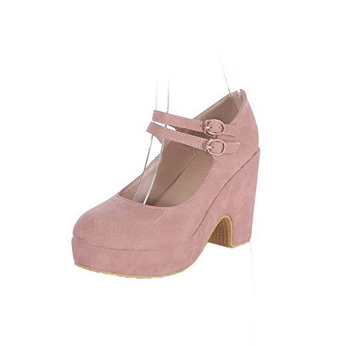 VogueZone009 Women's Round-Toe High-Heels PU Solid Pull-On Pumps-Shoes Pink 2wa29iSv