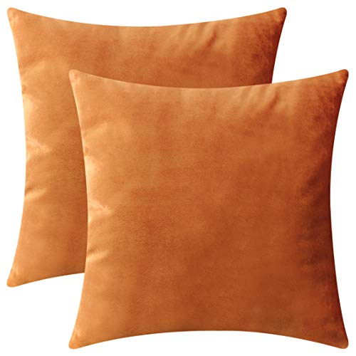 HOME BRILLIANT Set of 2 Velvet Throw Pillow Covers Square Decorative Cushion Cover Pillowcases, 45cm x 45cm(18 x 18 inches), Copper ()