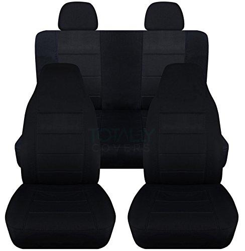 Solid Car Seat Covers w 2 Rear Headrest Covers: Black - Semi-custom Fit - Full Set - Will Make Fit ANY Car/Truck/Van/SUV (22 ()