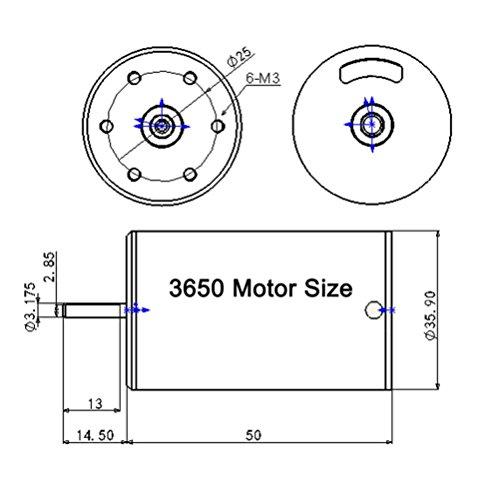 Alluing 3650 4300KV Length 50mm Sensorless Brushless Motor for 1/10 RC Car (orange) by Alluing (Image #3)