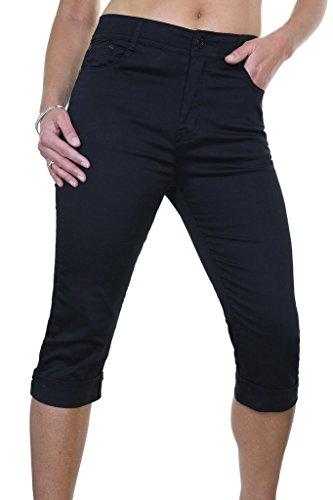 ICE (1511) Stretch Capri Cropped Turn up Cuff Sheen Jeans 10-20 Black