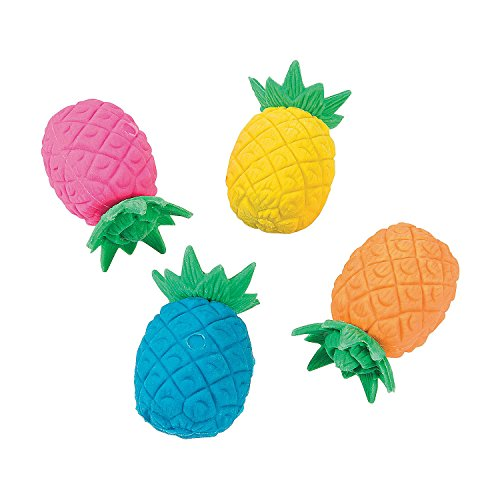 Bright Pineapple Erasers - Pack of 24