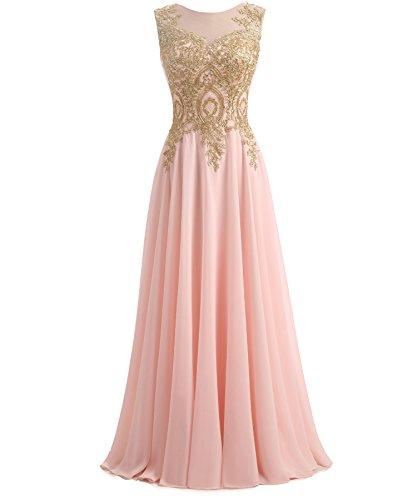 - Kivary Gold Lace A Line Long Chiffon Women Formal Prom Evening Dresses Plus Size Blush Pink US 18W