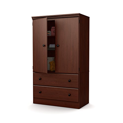 2 Drawer Cherry Armoire - South Shore Morgan 2-Door Armoire with Drawers, Royal Cherry