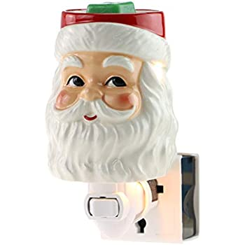 STAR MOON Pluggable Fragrance Warmer Wax Melter for Christmas Decoration Home/Dorm/Office No Flame No Smoke No Soot Packaged Together with Two Bulbs - Funny Blushing Santa Claus
