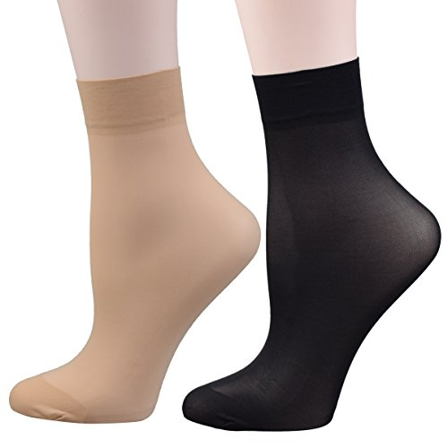 Fitu+Women%27s+50D+Extra+Soft+12+Pairs+Sheer+Nylon+Ankle+High+Tights+Hosiery+Socks+%286+Black+6+Beige%29