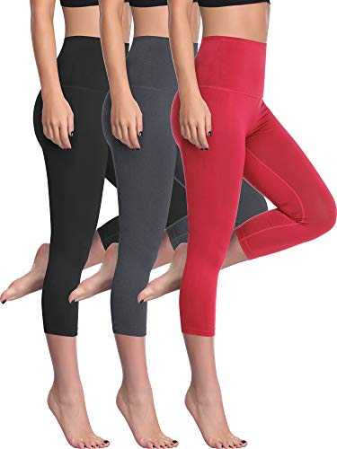 Cadmus Women's Workout Capris Yoga Legging with Hidden Pocket,1002,Black & Grey & Red,X-Large
