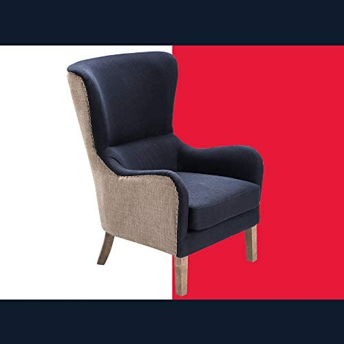 Tommy Hilfiger Warner Wingback Upholstered Accent Chair Modern Farmhouse Reading High Back Armchair