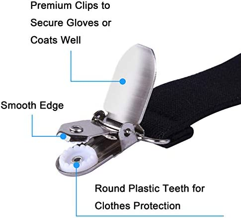 Toddle and Adults 4 Pack Mitten Clips with Elastic Straps for Kids wisdompro Glove Clips