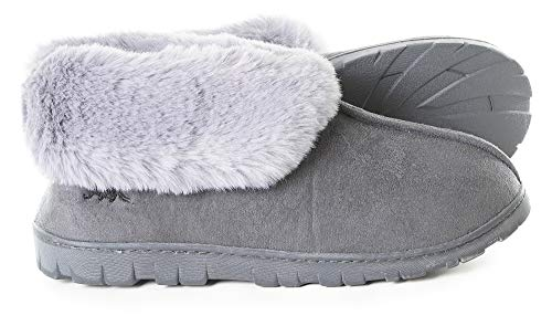 Women's Micro Suede Faux Fur Fleece Lined Cozy 80-D High-Density Memory Foam Slipper Bootie Winter House Shoes with Non Skid Indoor Outdoor Sole (Large / 9-10 B(M) US, Grey) (Thick Sole Booties)