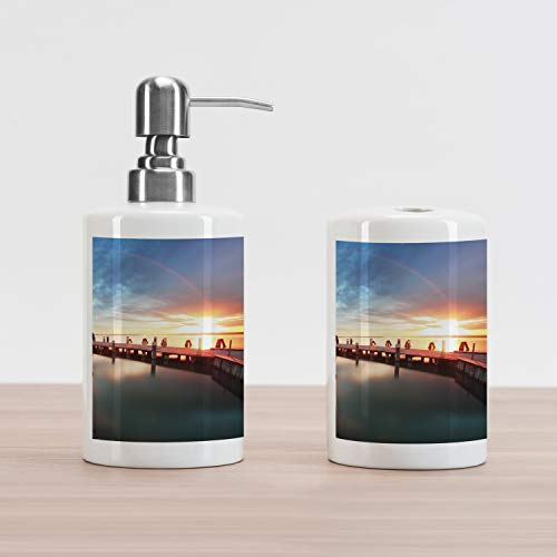 Ambesonne Lighthouse Soap Dispenser and Toothbrush Holder Set, Sunset at Seaside Wooden Docks Lighthouse Clouds Rainbow Waterfront Reflection, Decorative Ceramic Bathroom Accessory Set, Multicolor ()