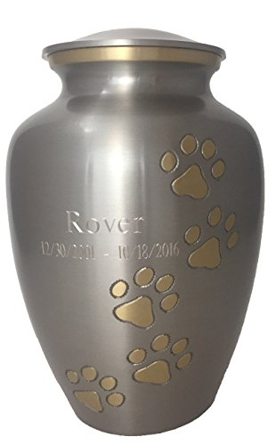 Beautiful Life Urns Pawsitive Reflection Custom Pet Urn Engravable Pet Cremation Urn, Pewter/Gold (Medium) (Slate Headstones For Graves)