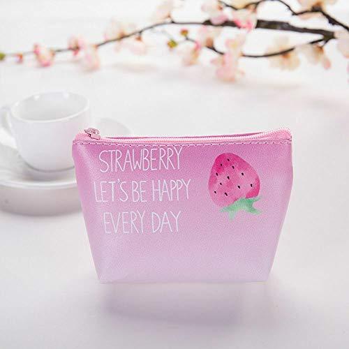 Strawberry Pattern PU Coin Purse Change Pouch Wallet Key Card Storage Bag (size - -