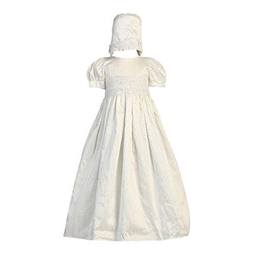 Lito Baby Girls Antique White Lace Bodice Baptism Silk Gown Bonnet Set 3-6M