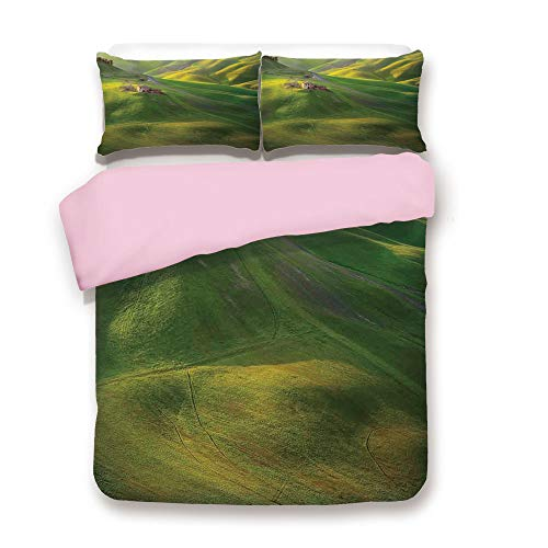 (Pink Duvet Cover Set,Twin Size,Tuscany Hills Sunset Scenery Green Meadow Agriculture Country Farm House Theme,Decorative 3 Piece Bedding Set with 2 Pillow Sham,Best Gift For Girls Women,Green and Yell)