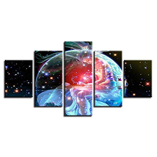 (LWLNB Decorative Painting 5 Canvas Hd Printed Poster Wall Art Frame 5 Pieces Zodiac Signs Scorpio Painting Fantasy Constellation Woman Pictures Home Decor)