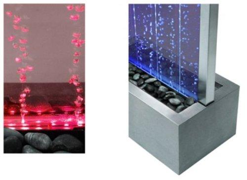 Pareti Dacqua Da Interni : Fontana parete dacqua con bollicine telaio acciaio inox luci led