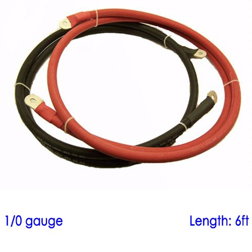 "Battery Cable with 3/8"" and 5/16"" Lugs for Power Inverter Converter Solar 12 Volt Bank (6ft, 1/0 AWG SGX)"