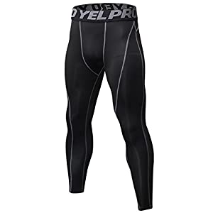 Yuerlian Men's Running Leggings, Cool Dry Gym Tights for Men, Compression Base Layer Sport Pants
