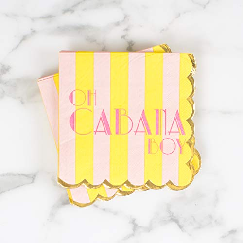 Oh Boy Stripes - Oh Cabana Boy Yellow and Pink Stripe 5 x 5 Paper Beverage Napkins Pack of 20