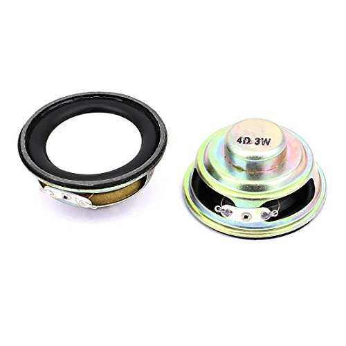 Aexit 2 Pcs 52mm 4Ohm 3W External Magnetic Speaker Loudspeaker Silver Tone by Aexit