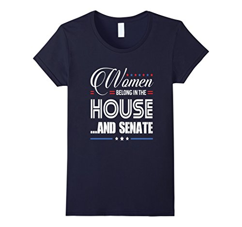 Womens PROUD WOMEN BELONG IN THE HOUSE AND SENATE T-SHIRT Medium Navy - Current Political Halloween Costumes