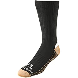 Men's Copper-Infused Black Crew Work Socks, All Day Comfort, 2-Pair Pack, Extra-Large (Wells Lamont 8432XL)