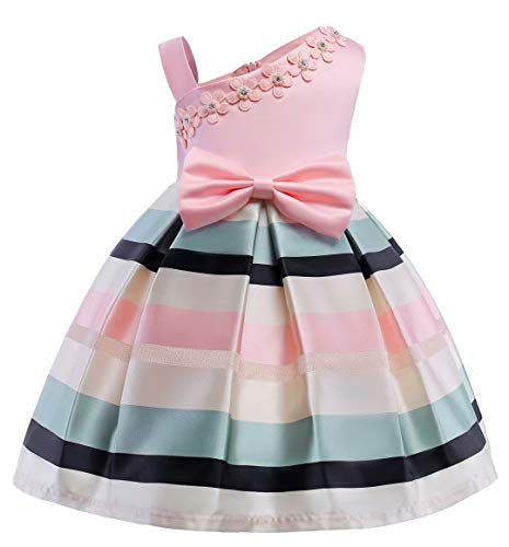 AYOMIS Litter Big Girl Dress Princess Gowns Bow Party Wedding Dresses(Pink,3-4Y)