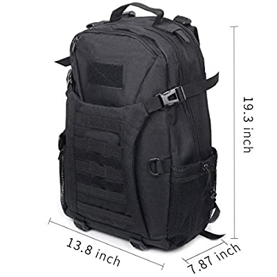 Tactical Backpack Waterproof Military Rucksacks Assault Pack Combat Backpack Trekking Bag, Black