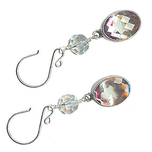 Swarovski Crystal Quartz Earrings (Faceted 15x10mm Oval Mystic Quartz Earrings Sterling Silver Austrian Swarovski Crystal Half-Hoop Ear Wires)