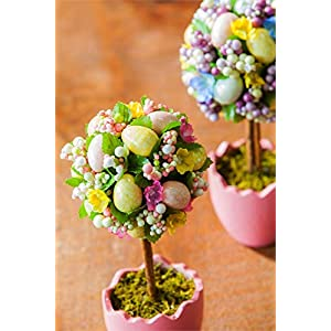 Cypress Home Potted Easter Egg Artificial Topiaries, Set of 2 3