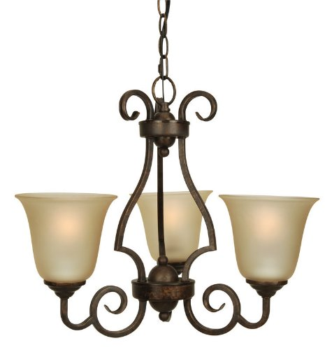(Craftmade 7120PR3 Up Chandeliers with Amber Frosted Glass Shades, Peruvian Bronze)