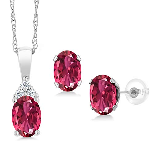 Gem Stone King 1.16 Ct Pink Tourmaline AAA White Diamond 10K White Gold Pendant Earrings Set