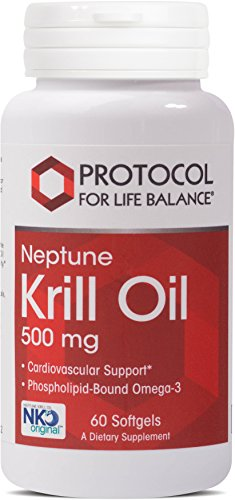 Krill Essentials Cardio Oil (Protocol For Life Balance - Neptune Krill Oil 500 mg - Cardiovascular and Joint Support - 60 Softgels)