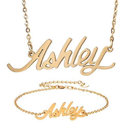 Personalized Name Necklace + Name Bracelet Sets for Women Nameplate Pendant Gift -Ashley Gold Set