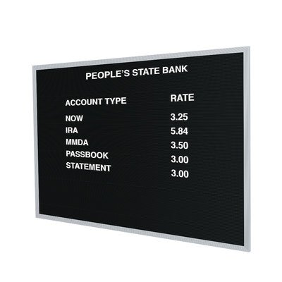 (Open Face Changeable Wall Mounted Letter Board Size: 24
