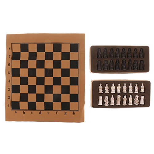 Homyl Chinese Ancient Figurines Chessman Pieces Chess Set with Foldable Chessboard