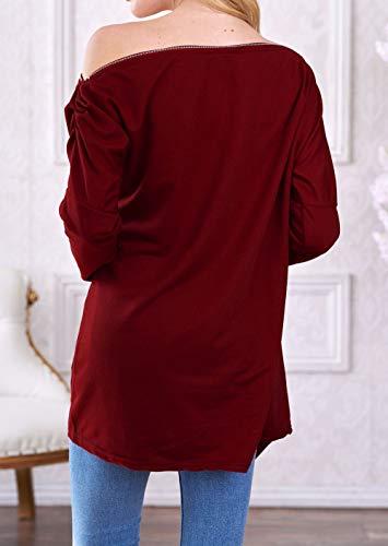 Hauts Blouse Vin paule Jumpers Irrgulier Mode Pulls Manches Oblique Tops Pullover Rouge Longues Femmes 74gq8w