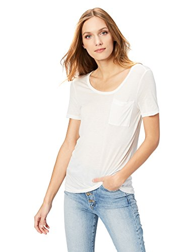 Daily Ritual Women's Super Soft Modal Semi-Sheer Pocket T-Shirt, L, Winter White - Soft White Knit Blouse