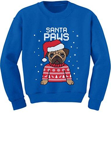 Santa Paws Pug Ugly Christmas Sweater Dog Toddler/Kids Sweatshirts 4T Blue