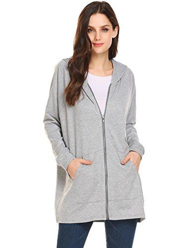- Zeagoo Women's French Terry Full-Zip Long Raglan Sleeve Hoodie Sweatshirt Gray Medium