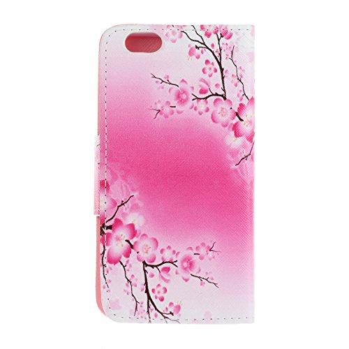Caja de Teléfono para Apple iPhone 6 Plus (5.5 pulgadas) Funda LuckyW Casa Flip Folio Funda Bookstyle Funda Flexible Ligera Duradera con Función de Soporte Ranuras de Tarjeta Soporte de Identificación Flor de ciruelo