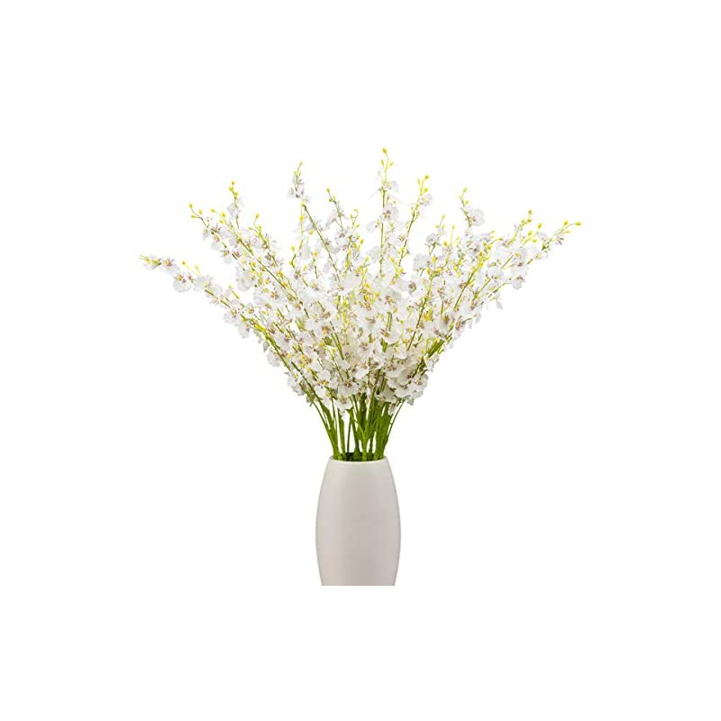 silk flower arrangements bomarolan artificial orchid silk fake flowers faux dancing lady orchids stems flower 10 pcs real touch for wedding home office party hotel yard decoration restaurant patio festive furnishing(white)