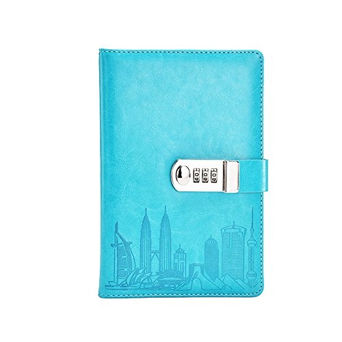 ToiM PU Leather Journal Writing Notebook Fashion Daily Notepad with Combination Lock and Pen Holder, A5 Size Password Diary for Men and Women (Without Chinese Writings) (Sky Blue) by ToiM