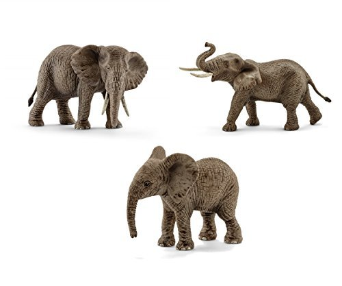 - Schleich African Elephant Toy Figurines Set - Male, Female, and Calf