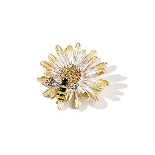 - BELUCKIN Daisy Flower Honey Bee Brooch Pin Enamel Crystal Jewelry for Women (B)