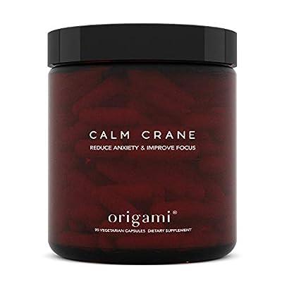 Calm Crane - Natural Anti Anxiety and Stress Relief Supplement | 90 Vegetarian Capsules | Ashwagandha, L-Theanine, Turmeric Curcumin, Magnolia Bark, Magnesium, Vitamin C | Herbal Cortisol Reducer